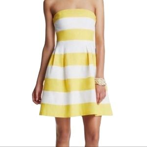 Loft Linen Blend Strapless Fit Flare Stripe Dress